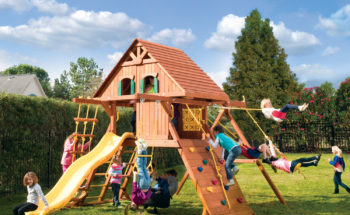 Parrot Island Playcenter Config 2 Wood Roof Treehouse panels